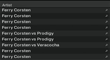Search results also include Ferry Coreten vs Prodigy and Ferry Corsten vs Veracocha.